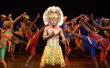The Lion King, Disney, UK tour, opening night September 7 2012 at the Hippodrome, Bristol cast: Nicholas Nkuna (Simba), Carole Stennett (Nala), Cleveland Cathnott (Mufasa), Stephen Carlile (Scar), Gugwana Diamini (Rafiki), Meilyr Sion (Zazu), John Hasler (Timon), Mark Roper (Pumbaa), Daniel Norford (Banzai), Gbemisola Ikumelo (Shenzi), Philip Oakland (Ed)