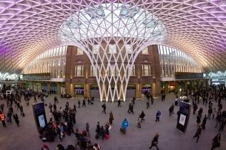 Western concourse at London Kings Cross station. Central postion showing ceiling structure.